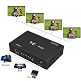 HDMI Splitter, Yuangao 1 in 4 Out Hdmi Splitter Adapter Support 4Kx2K 3D 1080P Hdmi Switch Signal Distributor with Metal Box HD Amplifier with US Adapter for HDTV PC PS3/PS4 Xbox Blue-ray and More