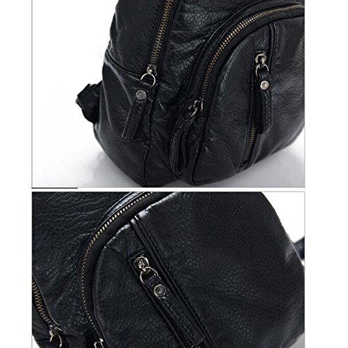 Mujer Nuevo Estilo Suave PU bolso Oblicuo Cuero Lavable Mochila Bolso De Cofre Bolsa De Viaje Black