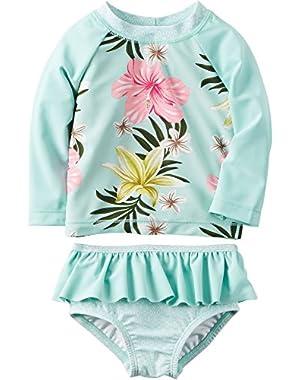 Baby Girls' Floral Rashguard Swimsuit