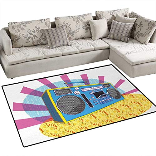 70s Party,Carpet,Retro Boom Box in Pop Art Manner Dance Music Colorful Composition Artwork Print,Area Silky Smooth ()