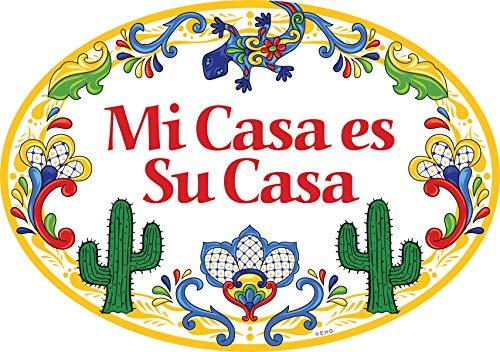- Essence of Europe Gifts E.H.G Mi Casa ES Su Casa Decorative Yellow Ceramic Door Sign Cactus Motif