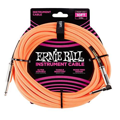 Ernie Ball Instrument Cable Neon Orange 10 ft. P06079