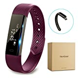 Fitness tracker watch, Hembeer V1 Smart Band with Step Tracker, Pedometer Bluetooth Bracelet Activity Tracker/ Sleep Monitor, Calories Track Sweatproof Health Band for iPhone & Android phones, Purple