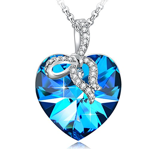 SUE'S SECRET Birthstone Heart Necklace For Women Bow-knot Heart Crystal Necklace Bow-Tie Forever Love Heart Pendant Necklace with Swarovski Crystals, Ocean Blue Heart Shaped Necklace, Birthday Gifts