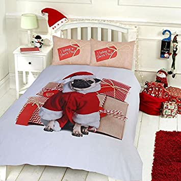 xmas festive special range reversible cotton rich quilt covers santa sleigh christmas pugreindeer