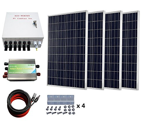 ECO-WORTHY 400 Watts Solar System: 4pcs 100W Poly Solar Panel + 30A PWM Charge Controller + 6-String Solar Combiner + 24cm Cable Connector by ECO-WORTHY