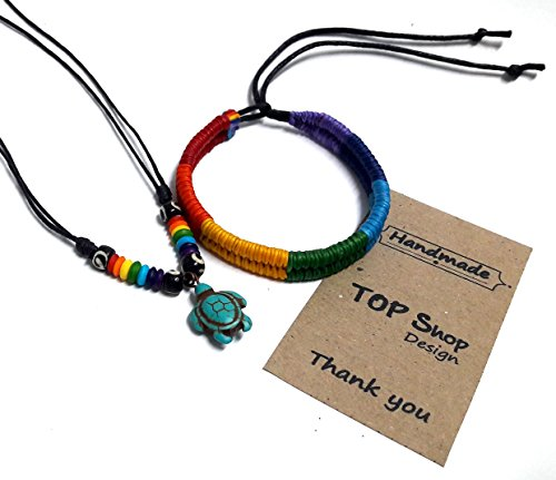 Necklace and Bracelet Turtle in Turquoise Color Hawaiian Bracelet Rainbow Hippie Gay Pride Wristband