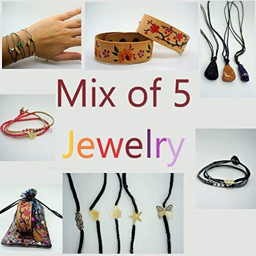 BARBARI Jewelry Mystery Gift- Mix of 5 Women Jewelry+ Free organza bag! | Handmade Necklaces and Bracelets Mix+ Free Gift Wrap! High Quality Gemstones Pendants Bracelets (Total value 90$)