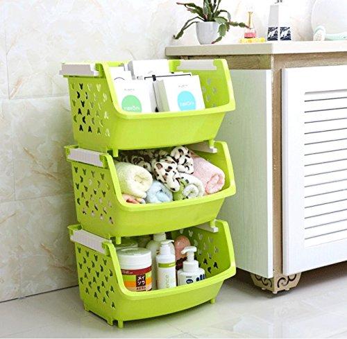 (Magshion Bath Kitchen Plastic Storage Shelf Baskets Bins Tote Boxes, Green, Set of 3)
