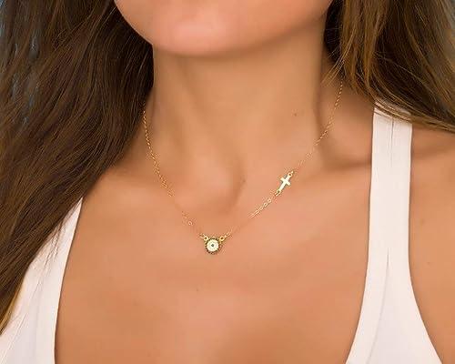 Nemea Gold Evil eye necklace  Cross pendant  Gold cross necklace  Blue evil eye necklace  Protection necklace  Evil eye jewelry