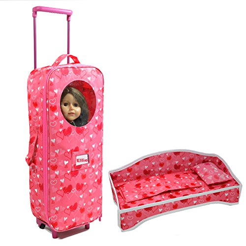 Doll Travel Suitcase with Folding Bed - Suitcase with Window