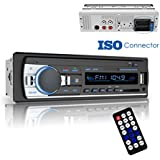 Bluetooth Car Stereo Receiver, Universal Single Din Car Radio with Remote Control, Dansrueus Car Stereos Audio In Dash FM Radio Receiver MP3 Player/USB/SD Card/AUX, Black
