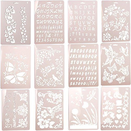 Card Templates Craft (WINGOFFLY 12pcs Different Plastic Stencils Letter Number Graphics Templates for Scrapbooking Drawing Card and Craft Projects)