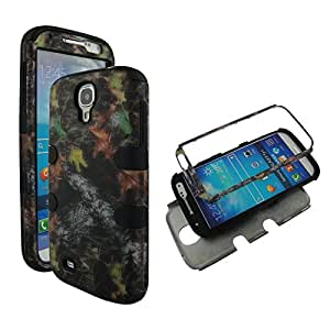 Hybrid 3 in 1 Bk Camo Stem Samsung Galaxy S 4 / S4 / i9500 High Impact Shock Defender Hard Plastic Outside with Soft Silicon Inside Drop Defender Snap-on Cover Case