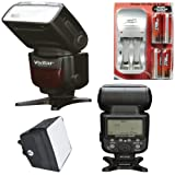 VIVITAR 18-180MM POWER ZOOM DSLR FLASH FOR CANON + AC/DC TRAVEL CHARGER