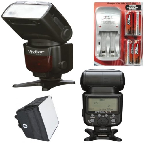 VIVITAR 18-180MM POWER ZOOM DSLR FLASH FOR CANON + AC/DC TRAVEL CHARGER by Vivitar