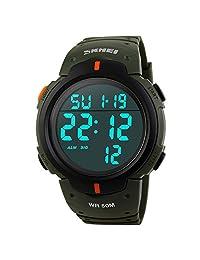 SKmei Leisure Men's Sport Simple Design Digital LED Screen Large Numbers Waterproof Wrist Watch-Army Green