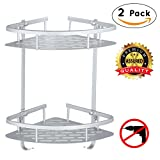 Adhesive Corner Bathroom Shelf Storage - Durable Stainless Steel 2 Tier Wall Hanging Triangle Bathroom Shelf, Kitchen Wall Mounted Shower Storage Basket Organize No Damage Wall Mount, Silver