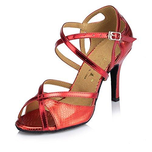 Señoras Moda Zapatos Cómodos Lamba Capilla Zapatos Rojo 8cm