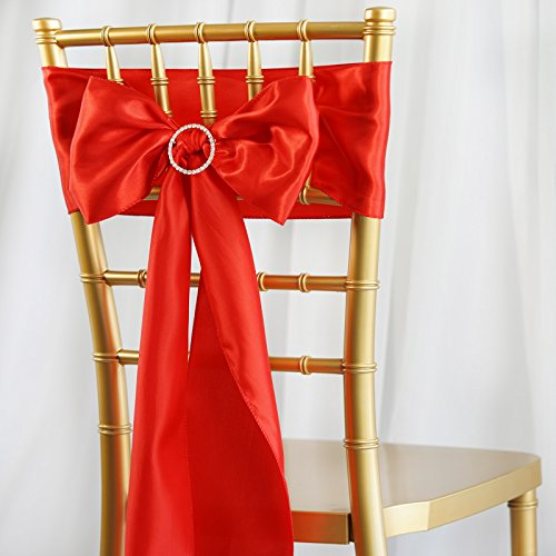 BalsaCircle 50 Red Satin Chair Sashes Bows Ties for Wedding Decorations Party Supplies Events Chair Covers Decor Banquet Reception -