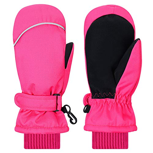 Kids Mittens Gloves, Gallop Chic Girls Boys Toddlers Winter Mitts, Children Thinsulate Lining Waterproof Winter Sports Snow Ski Mittens (Pink, 5 6 7 Y) (Best Toddler Ski Gloves)
