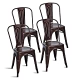 Merax Set of 4 Metal Chairs Stackable Dining Room Chairs for Indoor/Outdoor Use (Antique Copper)