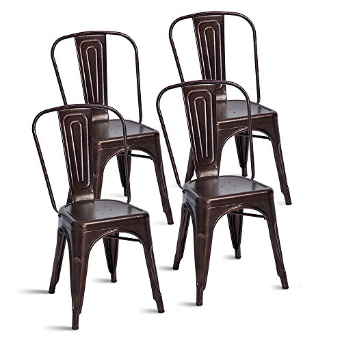 Merax Stackable Metal Dining Chairs Steel Side Chairs with Back, Set of 4 (Antique Copper) by Merax