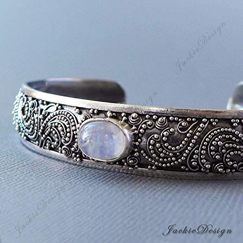 Rainbow Moonstone Bali Ocean Wave Ornate Handmade 925 Sterling Silver Bangle Cuff Bracelet JD184 - Moonstone Silver Bangles