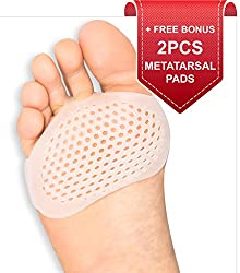 Metatarsal Pads Ball of Foot Cushions Designed by Brison - 2 Pieces - Soft Gel Ball of Foot Pads - Mortons Neuroma Callus Metatarsal Foot Pain Relief Bunion Forefoot Cushioning Relief Women Men from BRISON