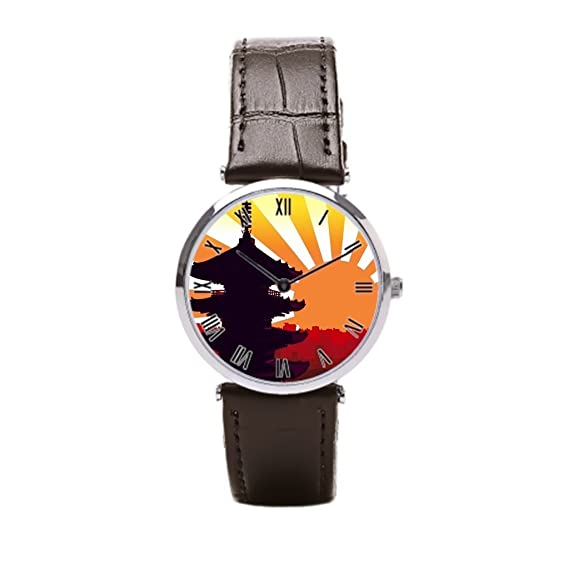 dodoband piel reloj banda Skyline Negro Correa de piel: Amazon.es: Relojes
