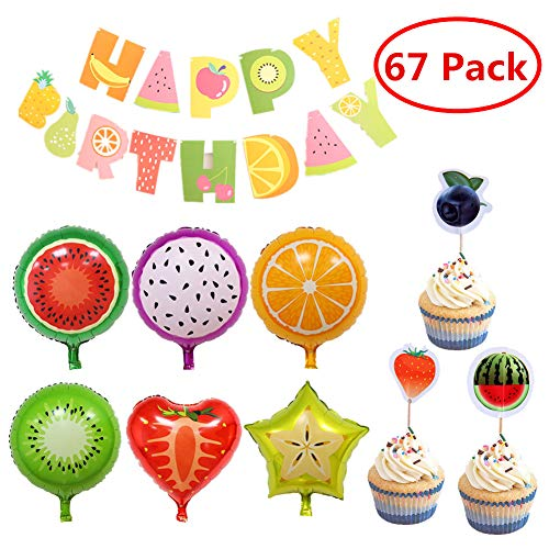 18 Pcs Fruit Mylar Balloons Party Supplies,Happy Birthday Banner 36 pack Cake Topper Cute Cupcake 18 Inch Large Foil Balloons For Birthday Party or Baby Shower Decorations ()