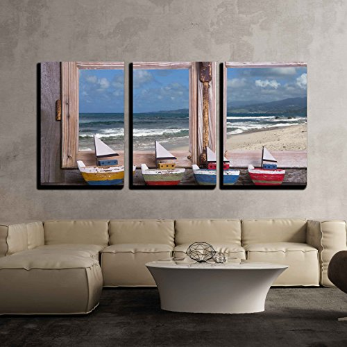Summer on the beach wooden window with sea view x3 Panels