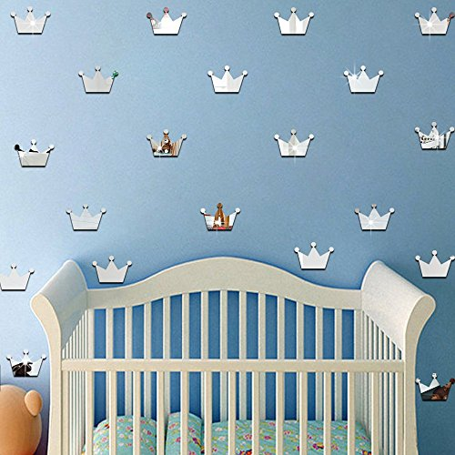 ufengke home 3D Princess Crown Silver Wall Stickers for Girls 15 pcs Wall Decal With Mirror Effect Decorative Removable Double-Sided DIY Decor Mural Decoration for Nursery Room, Children's Bedroom (Princess Mirror Wall Decals)