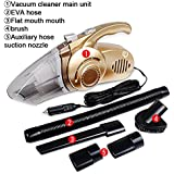 Portable Vacuum Cleaner, Yvonne 4 In 1 Car Wet and Dry Vacuum Cleaner Rechargeable High Power 120W 12V with Exterior LED Light High Efficiently Filter Dust and Air