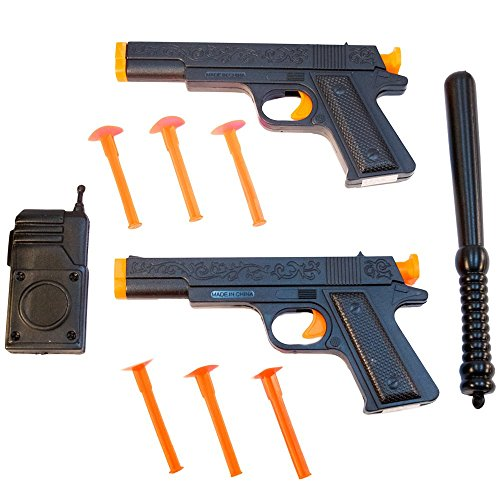 TukTek Kids First Set of 2 Police Squad Toy Pistol Suction Cup Gun Shooters w/ Walky-talky Radio for Boys & Girls -