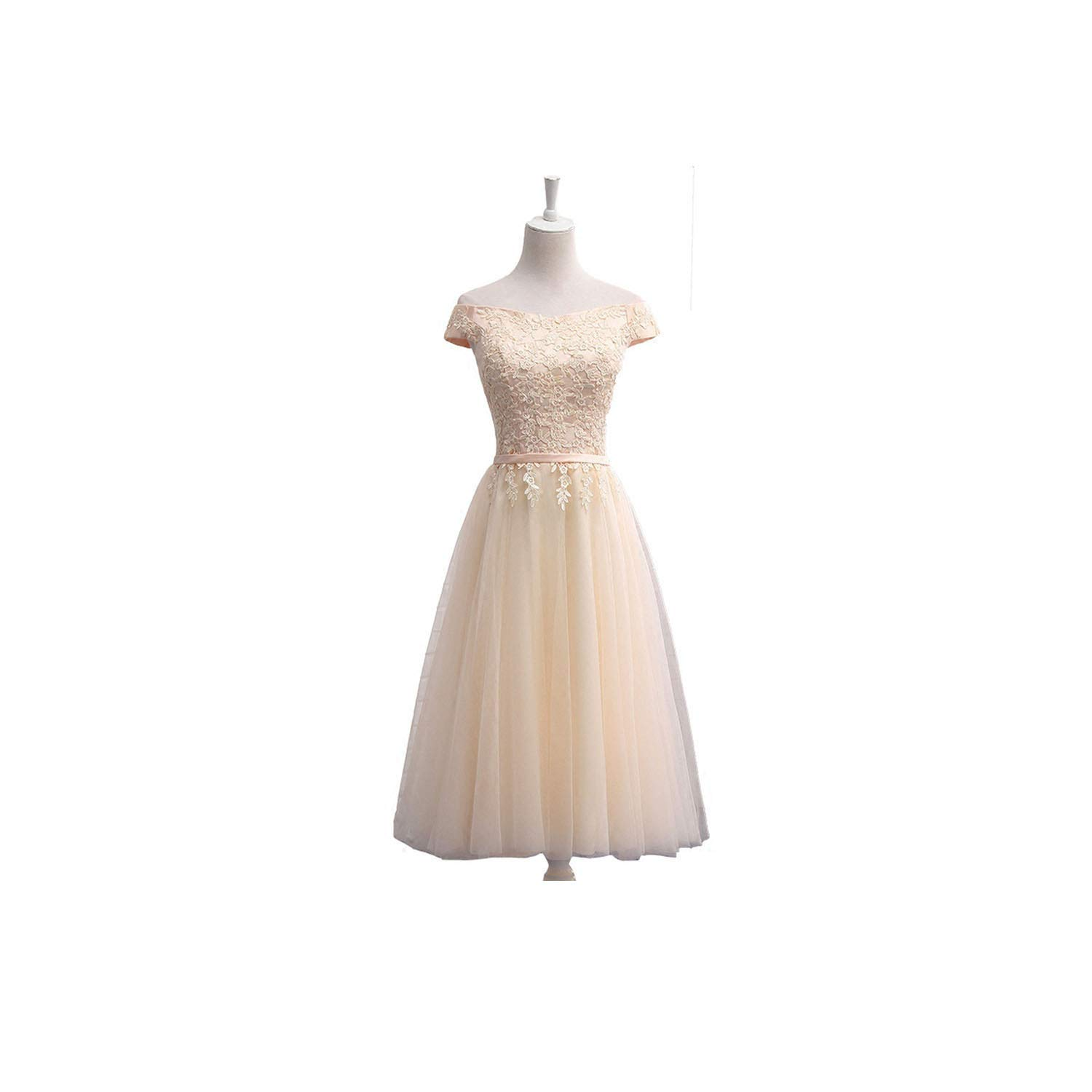 Champagne tea length Bridesmaid Dresses FloorLength Boat Neck Cap Sleeve Applique Embroidery Dress