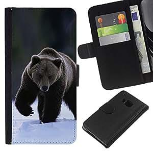 HTC One M9 - Dibujo PU billetera de cuero Funda Case Caso de la piel de la bolsa protectora Para (The Winter Grizzly Bear)