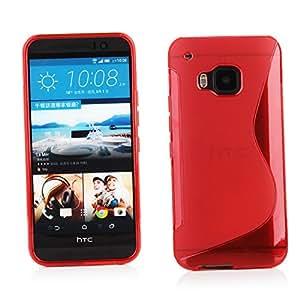 Kit Me Out ES ® Funda de Gel TPU + Cargador para el coche + Protector de pantalla con gamuza de microfibra para HTC One M9 - Rojo Onda línea S
