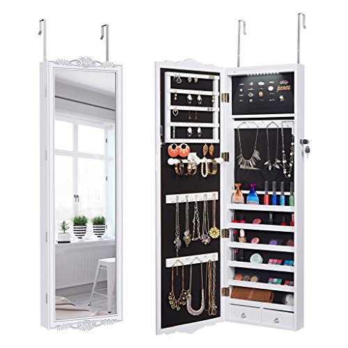 Glass Doors Carved (LANGRIA 10 LEDs Jewelry Cabinet Full-Length Lockable Wall-Mounted Over-the-Door Hanging Jewelry Armoire and Accessories Storage Organizer, 2 Drawers Carved Design and 3 Adjustable Heights (White))