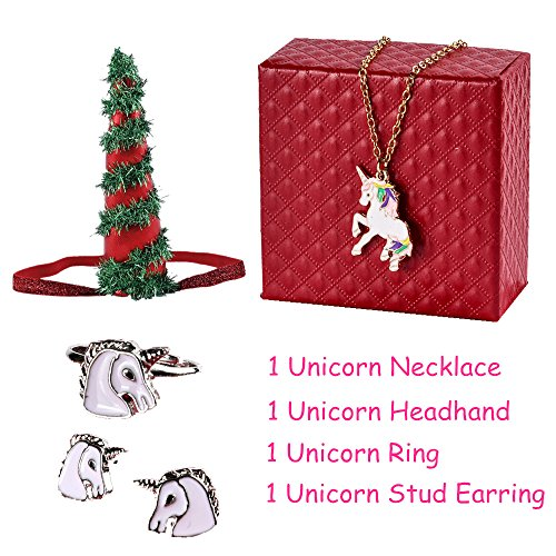 [Fashion Girl ]PinkSheep Girl Kids Unicorn Jewelry Sets, Unicorn Necklace Earrings Ring Headband, Kids Unicorn Party Favors Bag