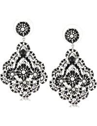 Jet and Sterling Silver Medium Embroidered Earrings