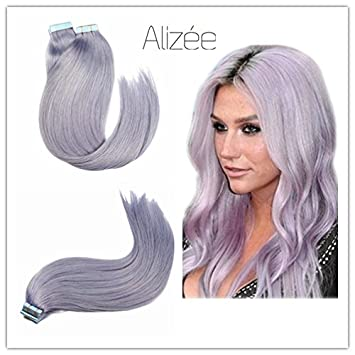 Amazon alize tape in hair extensions 100g40pcs light blue alize tape in hair extensions 100g40pcs light blue purple dye color pastel lavender pink pmusecretfo Images