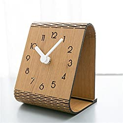 American Modern Wooden Clock Simple Miniature Desktop Decoration Bedroom Study Girl Child Silent Home Battery Digital,Yellow