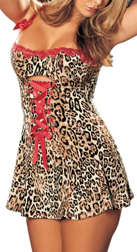 Of Camisole Shirley Stretch Hollywood - Shirley of Hollywood Women's Stretch Knit And Lace Chemise,Leopard,Medium