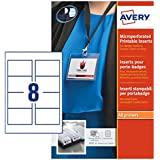 Avery L7418-25 Printable Double-Sided Name Badge Inserts, 8 Badges Per A4 Sheet