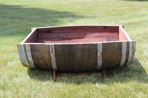 Oak Wood Split Wine Barrel Planter 26