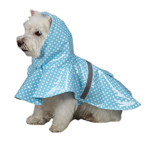 East Side Collection PU and Polyester Polka Dot Dog Rain Jacket, 20-Inch, Large, Blue