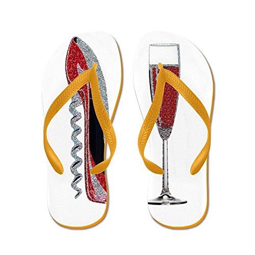 Cafepress Glitter Röd Korkskruv Stilett Och Champagne Glas - Flip Flops, Roliga Rem Sandaler, Strand Sandaler Apelsin