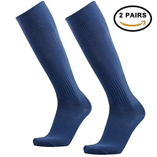 Ladies Soccer Socks, 3street School Uniform Knee-High Sport Athletic Football Baseball Running Tube Socks for Hallowwen Dark Blue 2 Pairs