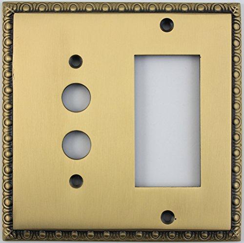 (Egg & Dart Antique Brass 2 Gang Combo Switch Plate - 1 Push Button Light Switch 1 GFI Outlet/Rocker Switch)